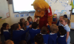 School children having fun with Roary