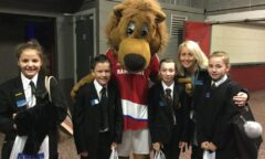 Roary meets a class of school children