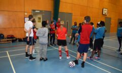 Maz Wieczorek,Rachel Pavlou and participants at a Football Welcomes event at North Shore Academy in Stockton.